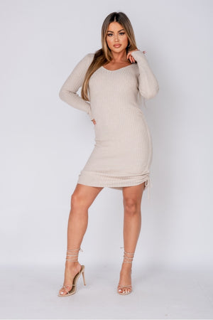 Beige Ruched Side Long Sleeve Knitted Midi Dress
