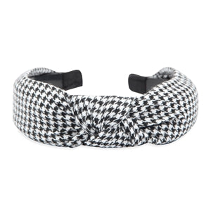 BLACK HOUNDSTOOTH KNOTTED HEADBAND