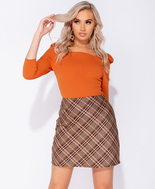 Bias Checked A Line Hem Mini Skirt