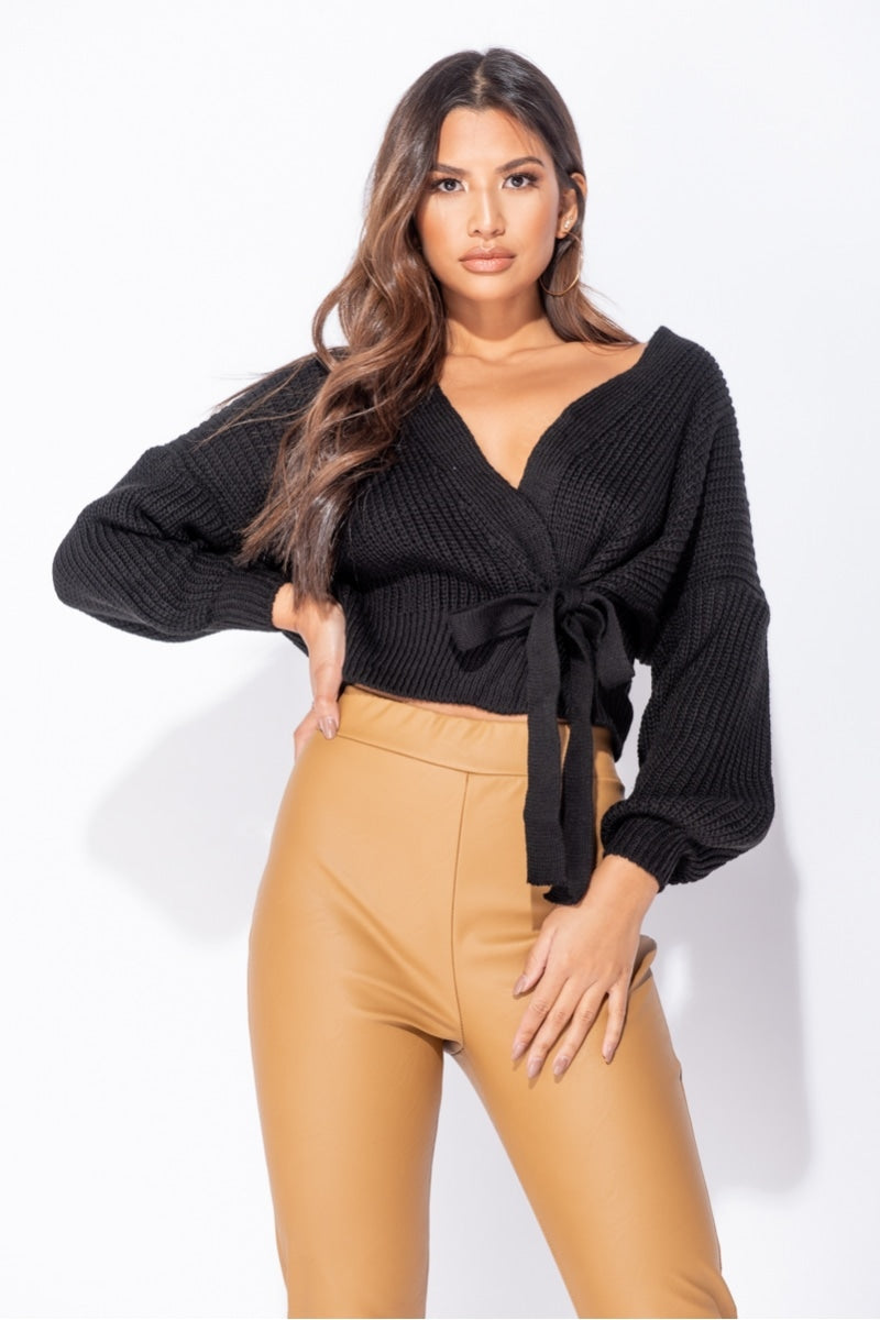 Best seller!!! Black Wrap Front Belted Puff Sleeve Cropped Sweater