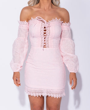 Broderie Anglaise Lace Tie Up Front Bardot Dress