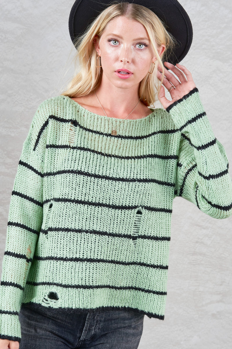 Sage Soft Textured Thread Stripe Sweater