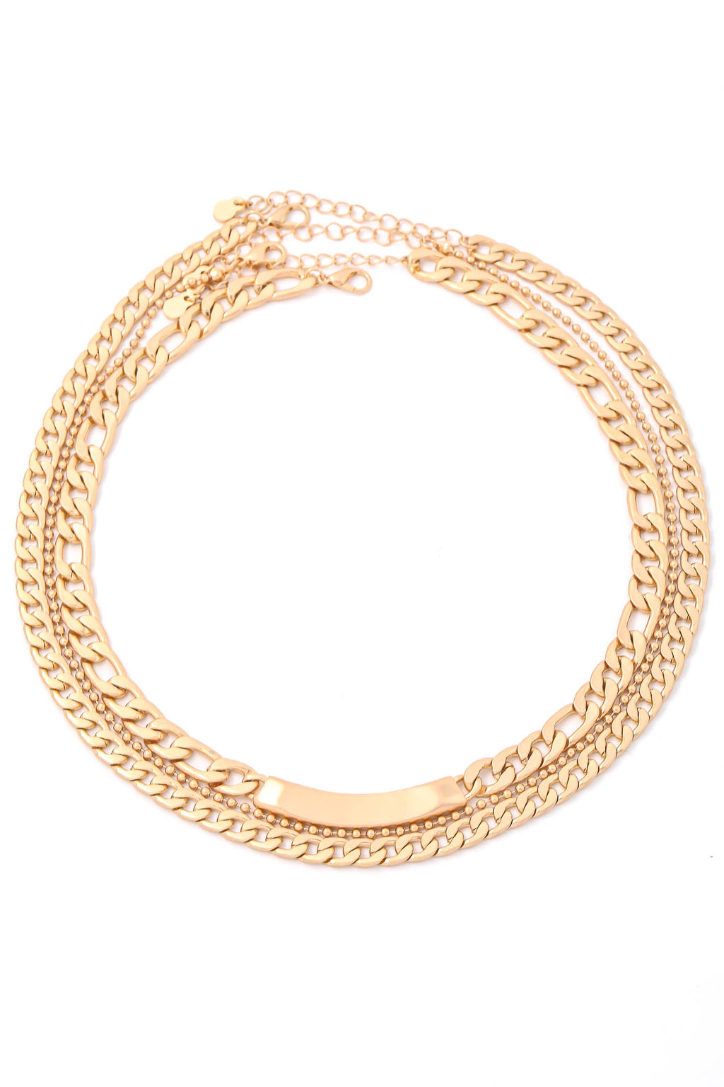 Gold Metallic Layer Curb Chain Necklace