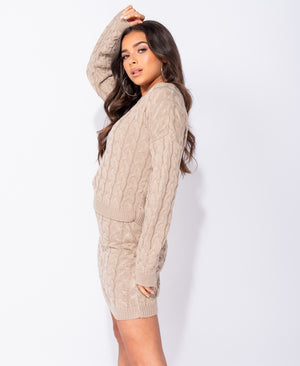 Beige Cable Knit Sweater Set