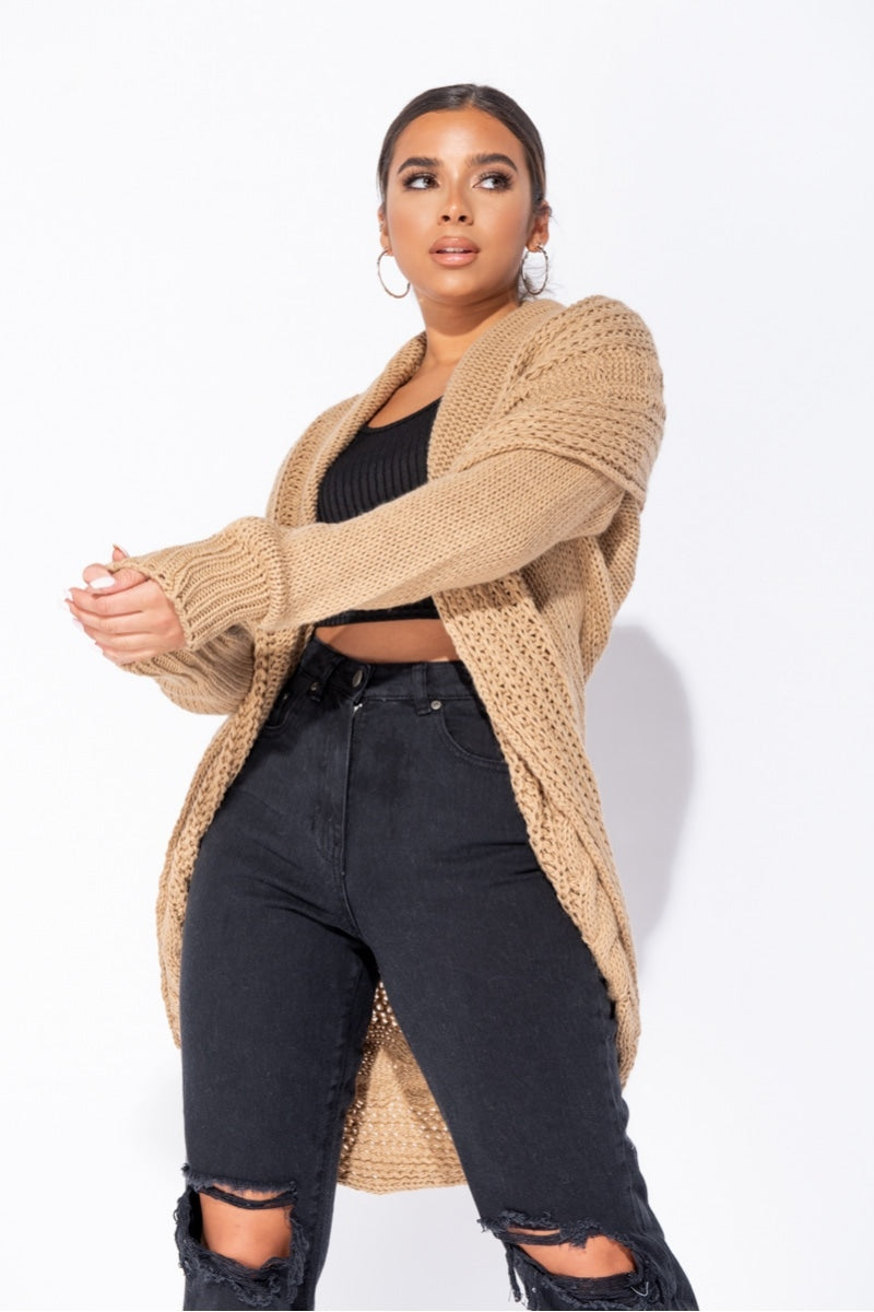 Camel  Chunky Cable Knit Shawl Collar Longline Cardigan