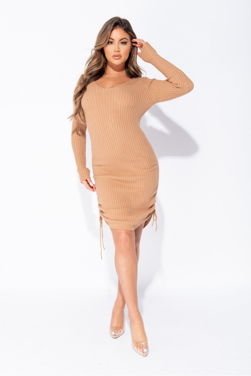 Camel Ruched Side Long Sleeve Knitted Midi Dress