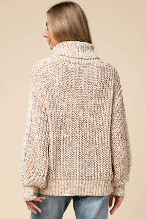 Multi-color speckled turtleneck sweater
