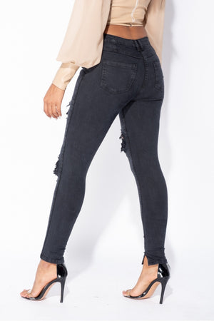 Best seller!!! Charcoal Distressed Front Rip Skinny Jeans