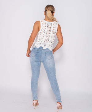Crochet Scallop Hem Sleeveless Top