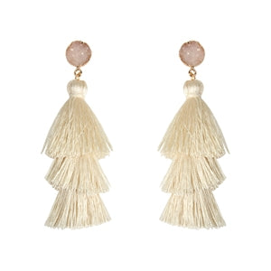 Ivory Druzy Post Tassel Drop Earrings