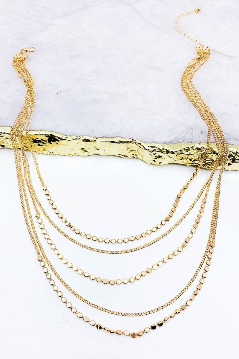 Multi Strand Chain Layered Necklace