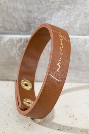 I Am Enough Faux Leather Bracelet