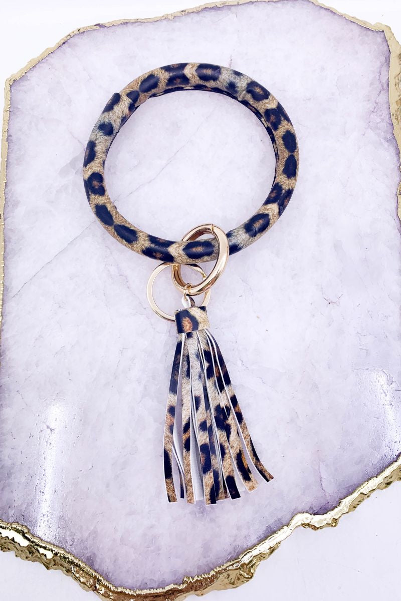 Leopard Leather Bangle Keychain