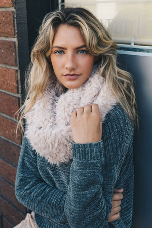 Ivory Shaggy Faux Fur Infinity Scarf