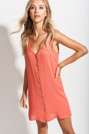 Coral Button Down Cami dress