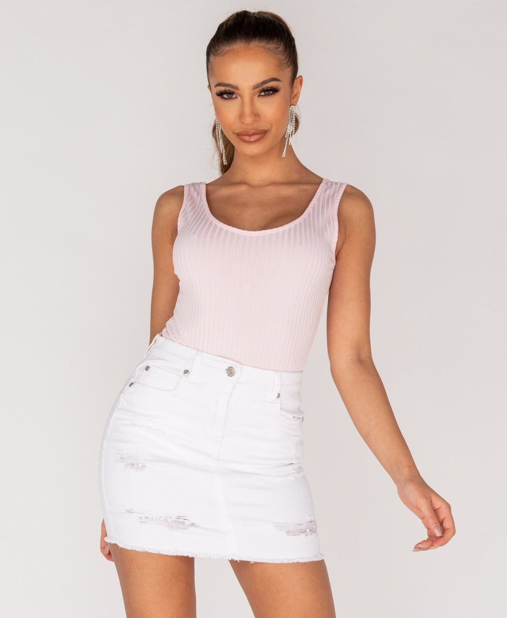 Best seller!!! White Distressed Frayed Hem Denim Mini Skirt