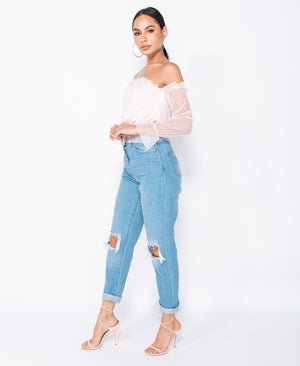 Light Wash Distressed Turn Up Hem Boyfriend Jean
