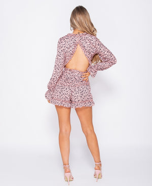 Floral Frill Detail Open Back Playsuit