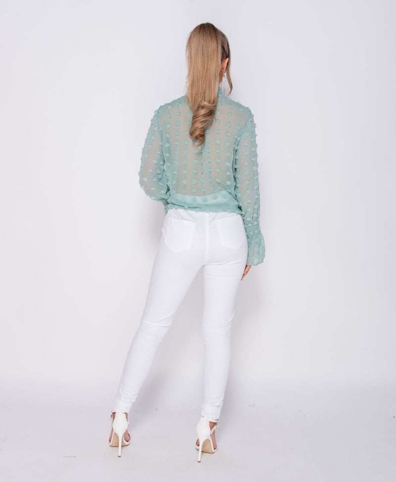 Mint Dobby Shirring Detail High Neck Blouse