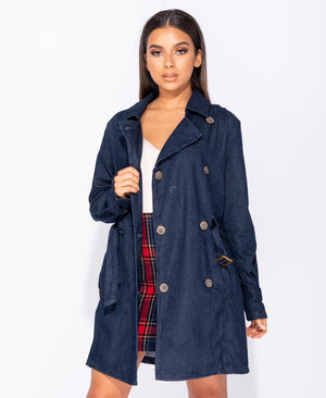 Double Breasted Button Front Self Belt Denim Jacket