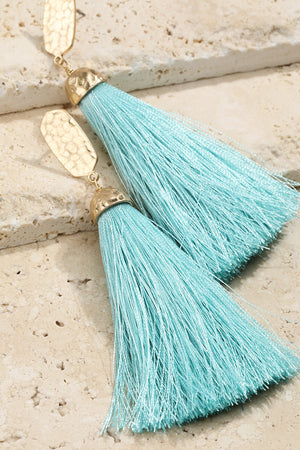 Mint Luxurious Tassel Earrings