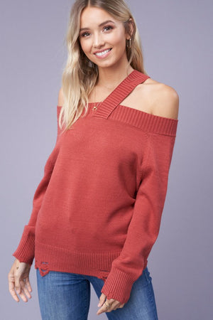 Marsala Off Shoulder Sweater With Single Strap