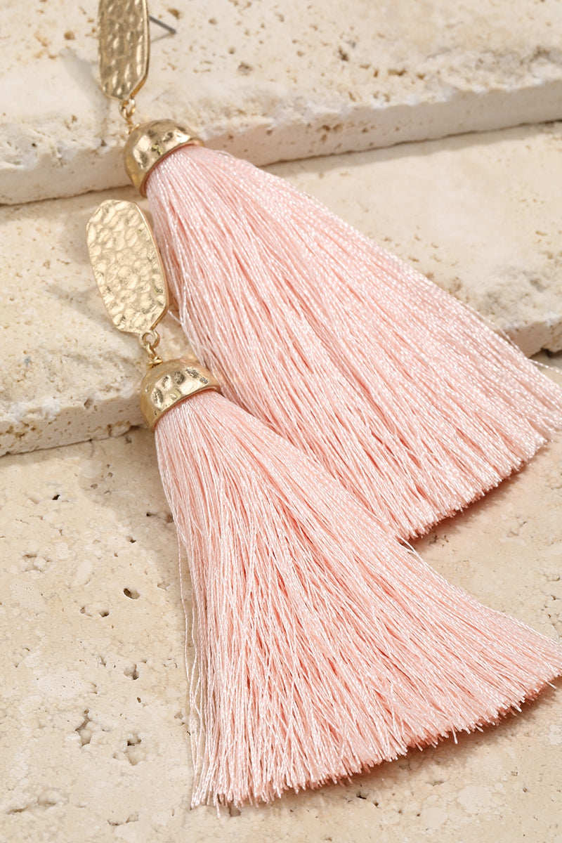 Light Pink Luxurious Tassel Earrings