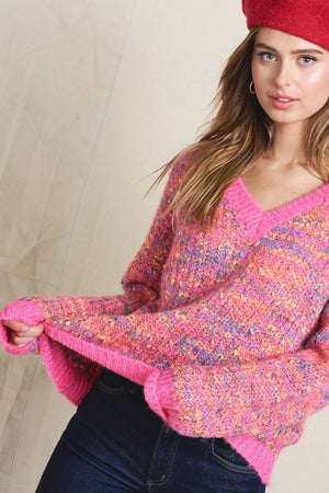 Pink Poppy V-neck Sweater