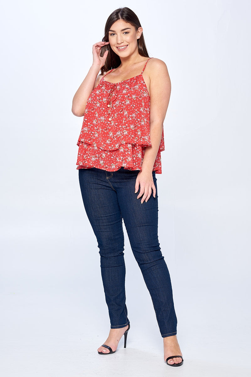 Red Floral Top-Loose Fit