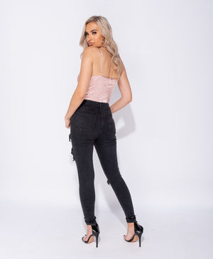 Charcoal Extreme Distressed High Waist Skinny Jeans