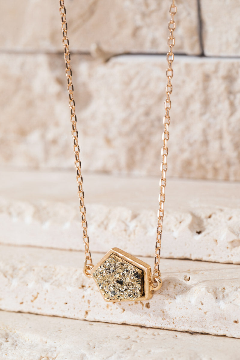 Gold Geometric Faux Druzy Necklace