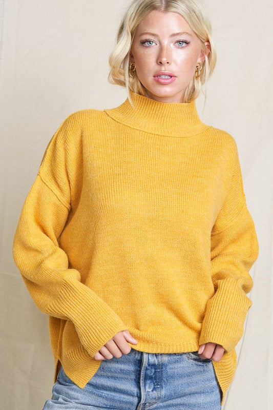 Yellow Luxy Turtleneck Sweater