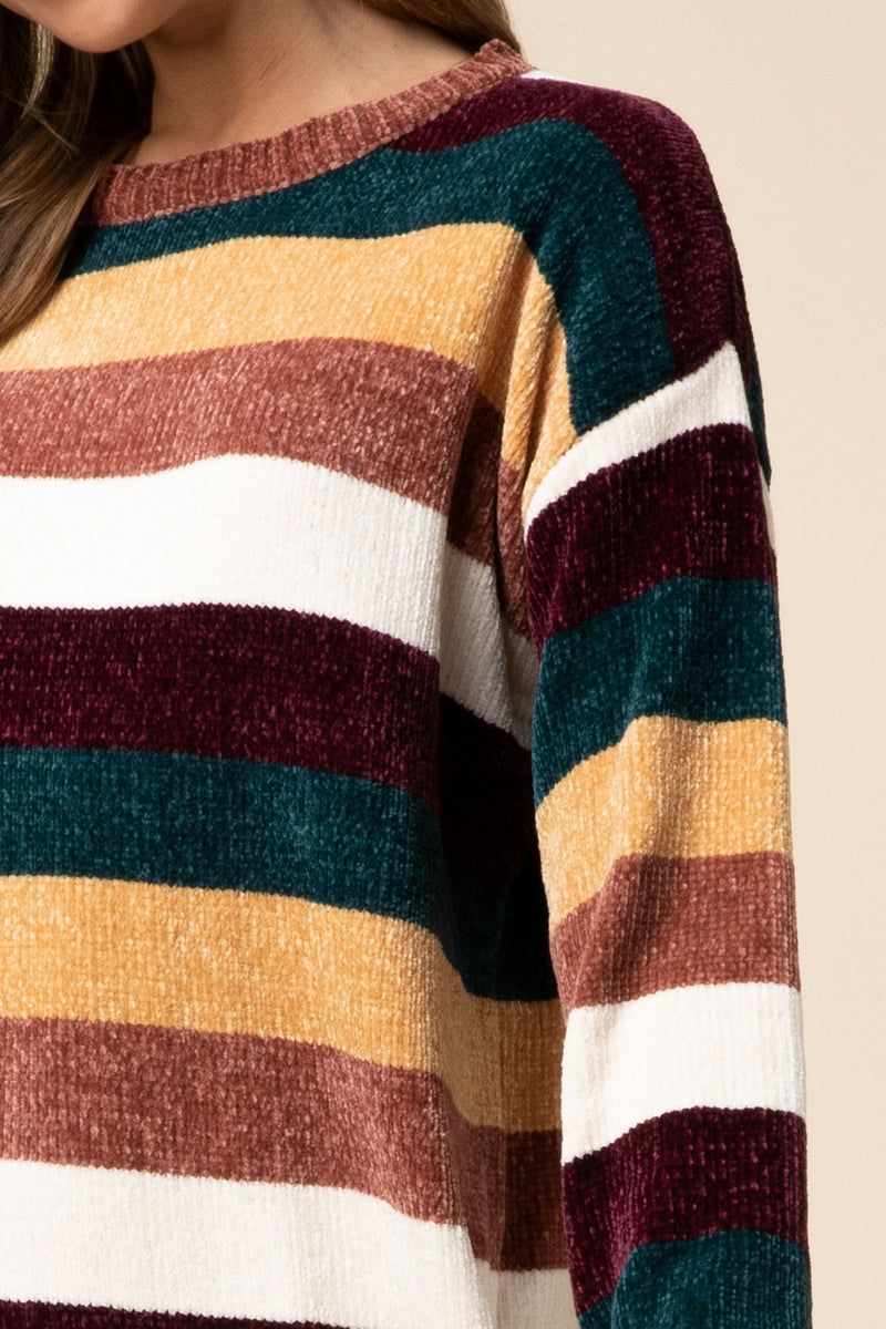 Chenille striped sweater dress