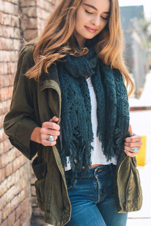 Teal Feather Knit Boho Scarf