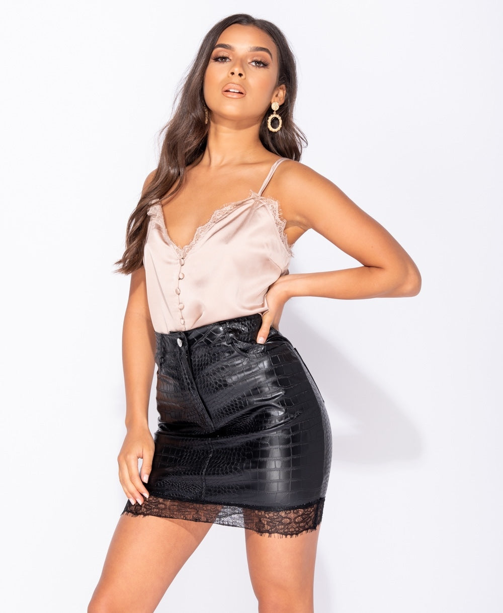 Faux Crocodile Leather Look Lace Trim Mini Skirt