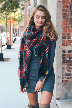 Black Classic Plaid Blanket Scarf
