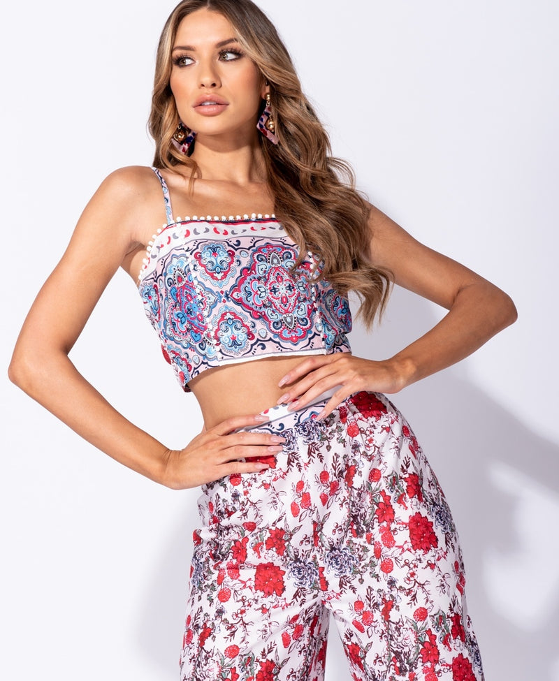 Lace Trim Crop Top & Wide Leg Trouser Set