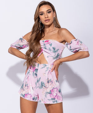 Floral Print Lace Trim Bardot Cut Out Detail Playsuit 1/16