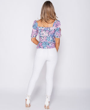 Floral Print Ruched Tie Detail Peplum Top