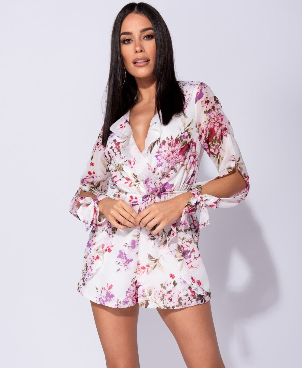 Floral Wrap Frill Slit Sleeve Playsuit