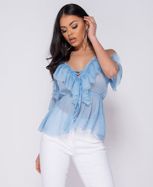 Light Blue Cold Shoulder Blouse Top