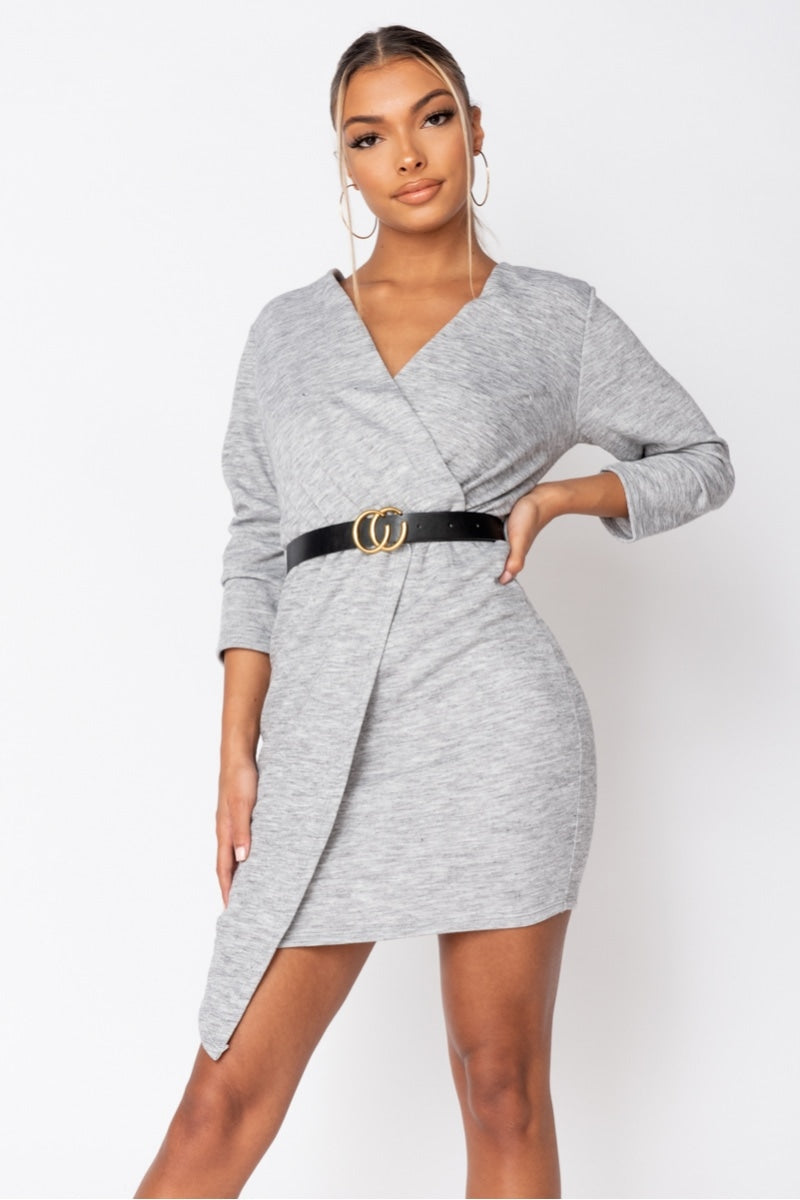 Grey Belted Asymmetric Knitted Mini Dress