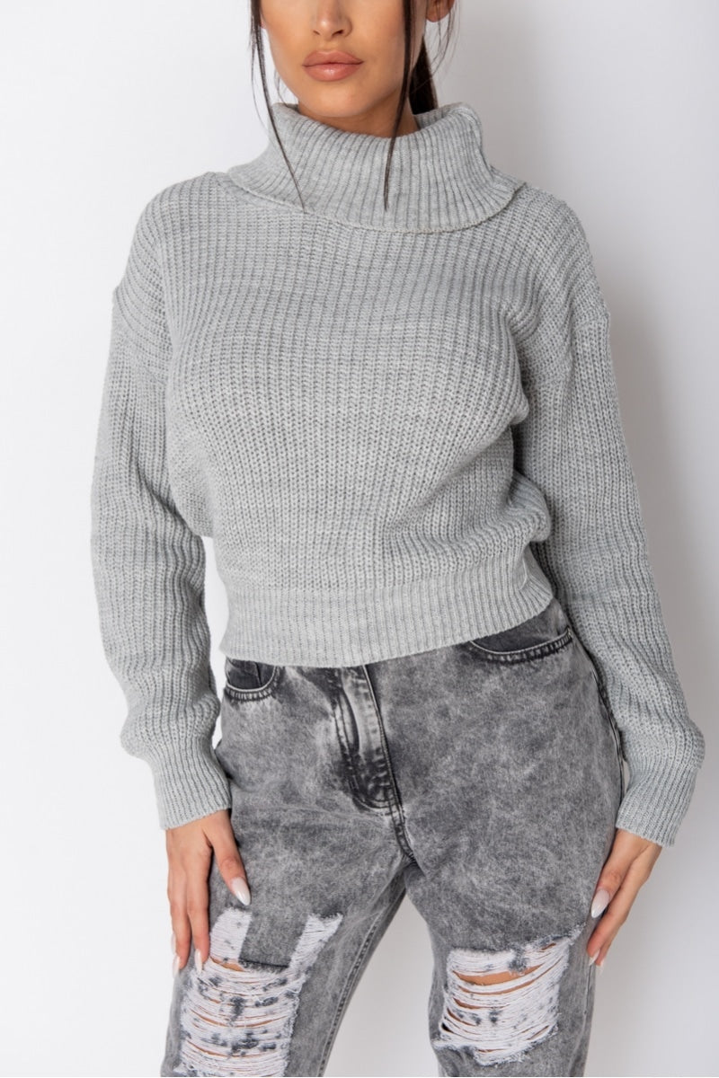 Grey Turtle Neck Ribbed Sweater