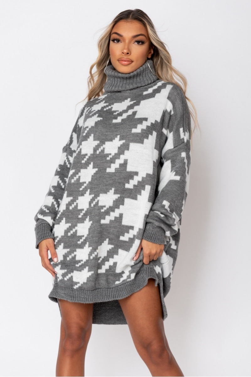 Grey White Houndstooth Check Roll Neck Jumper Dress