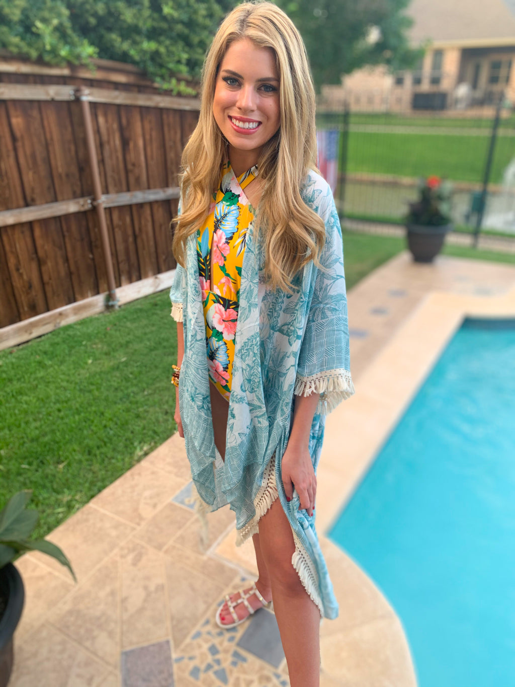 Teal Floral and Tropical Leaf Kimono