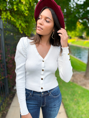 IVORY BUTTON DOWN PUFF SLEEVE SWEATER TOP