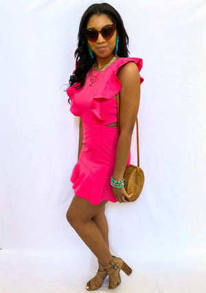 FUCHSIA CUT OUT BACK RUFFLE DRESS