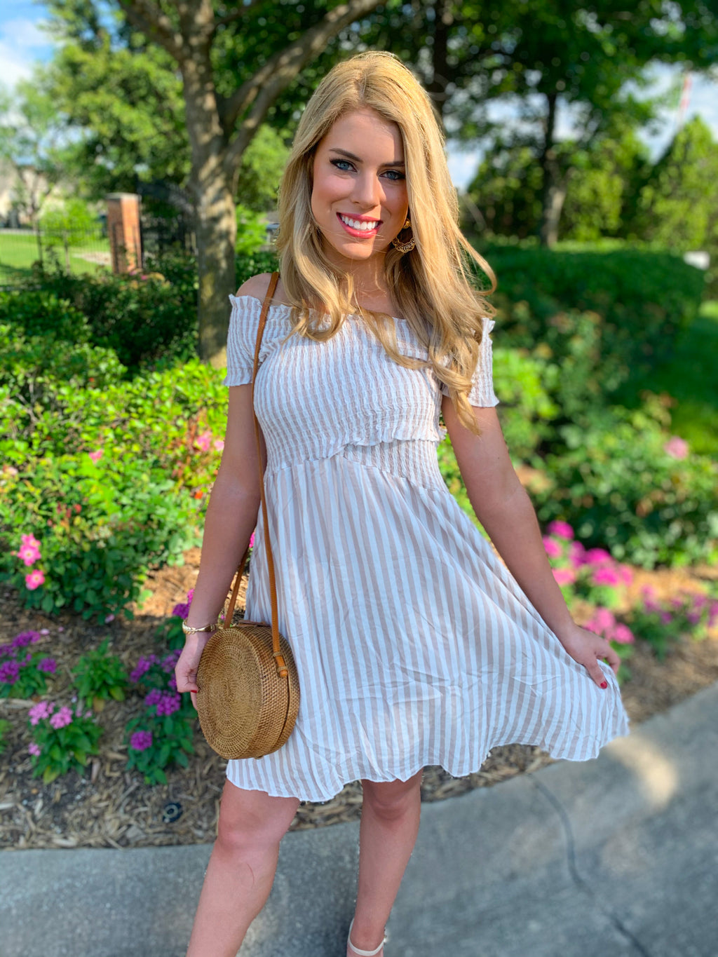 Best seller!!! Off Shoulder Striped Midi Dress (pre order 1/30)
