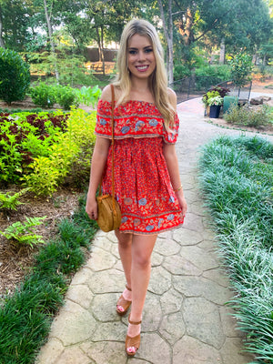 Red Off Shoulder Ruffled Dress