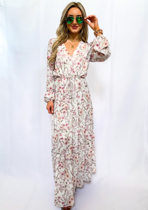 Floral Print Belted V Neck Maxi Dress